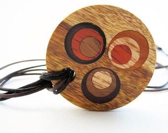 Wood Pendant, inlaid, modern, handmade - Retro Fab