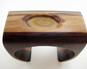 Wood Wrist Cuff/ Bracelet with stone - handmade, ooak