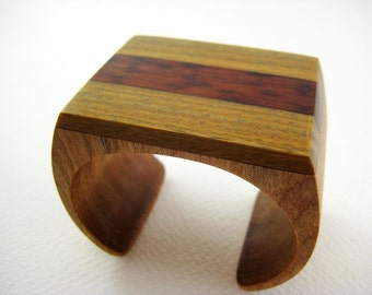 Modern Wood Bracelet, Wrist Cuff with Snakewood, small