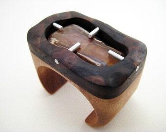 Walnut Wood Wrist Cuff Bracelet with Petrified Wood and Aluminum, ooak
