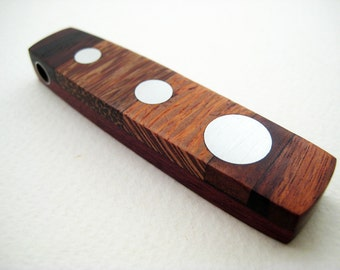 Wood and Metal Pendant, Modern OOAK, Reversible - Increasing Dots