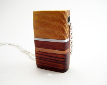 Wood Pendant Necklace, Modern, Sterling Silver Chain, Handmade, Harvest Gold