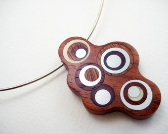 Unique wood pendant, necklace, modern, ooak, sterling silver neckwire, Shiny Bubbles