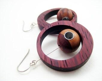 Modern Wood earrings, dangle, unique, one of a kind, stainless steel, padauk