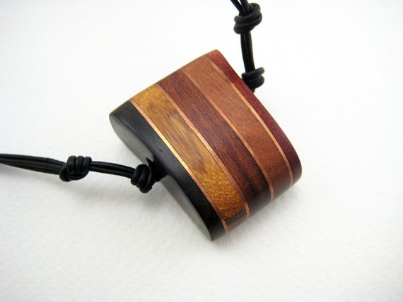 Handmade, Carved, Wood Pendant with Copper Accents (Copper Stripes)
