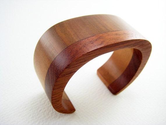 Carved Wood Wrist Cuff, Bracelet - unisex