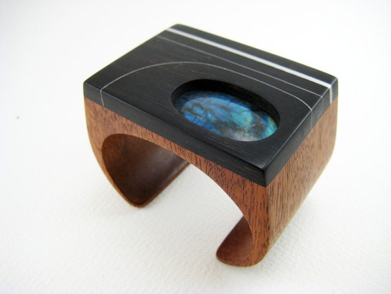 Carved, Wood Wrist Cuff / Bracelet, statement jewelry with Labradorite and Aluminum (No.8)