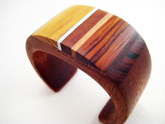 Wood Bracelet, Wrist Cuff, Modern, Unique, Small, Harvest Gold