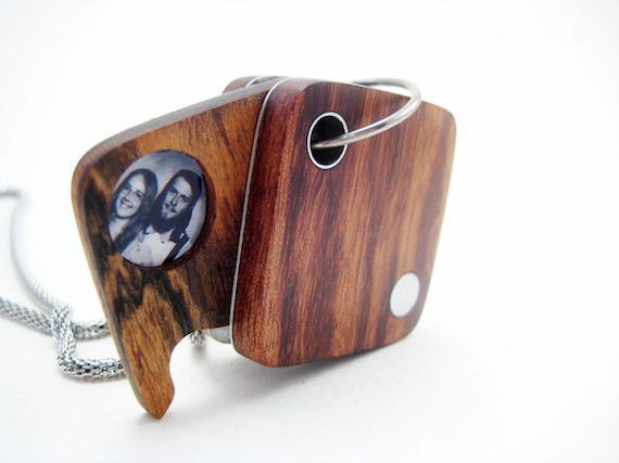 Mother's Day Locket, wood, modern, unique, ooak, handmade, stainless steel chain, simple square3