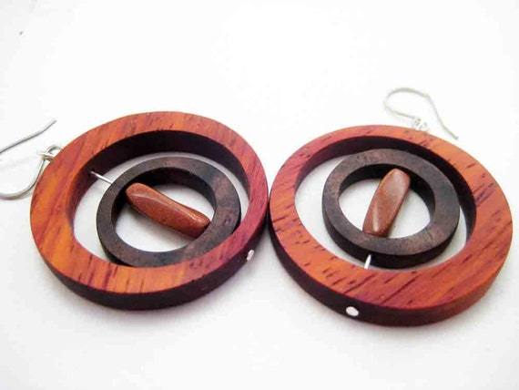 Wooden Earrings, Modern, Unique, Dangle, OOAK, handmade, with Goldstone