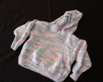 Hand-knit girl's variegated hoodie pullover with kangaroo pocket