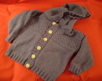 Hand knit boy or girl denim blue hoodie cardigan with nautical buttons
