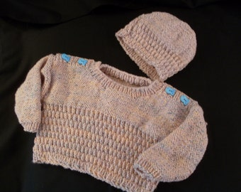 Hand knit girls Rosy Pink pullover with hat