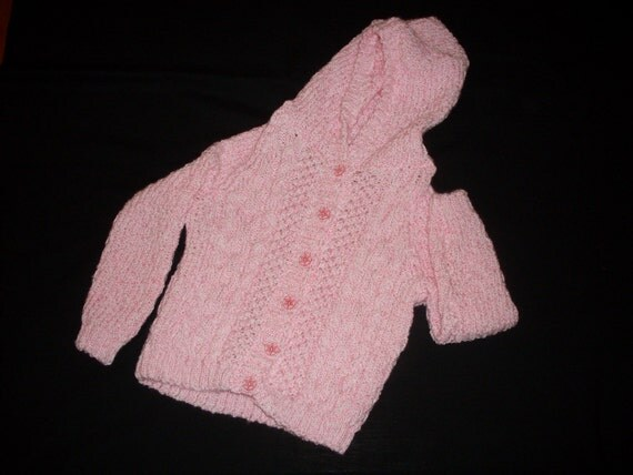 Hand knit pink and white girl's cable hooded cardigan