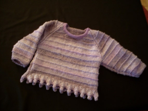 Hand knit girl's lavender marble pullover with bobbles