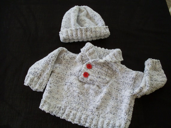 Hand knit boy's shawl collar sweater and hat