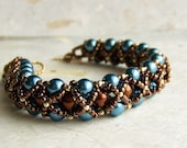Bracelet, Blue and Brown Pearl with Gold-Filled Toggle Clasp, Handwoven, Sky Blue, Chocolate Brown. Made to Order.