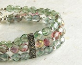 3-Strand Bracelet, Sterling Silver and Marcasite with Blue, Green, and Pink Czech Glass