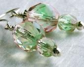 Earrings. Glass, Sterling Silver. Blush Pink, Moss Green.