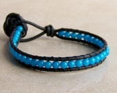 Leather Wrap Bracelet with Knotted Clasp. Black. Single Wrap. Blue Mountain Jade Beads.