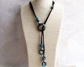 Lariat Necklace. Black Fine Suede Lace with Swarovski Crystal and Sterling Silver.