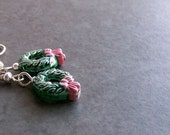 Earrings. Ceramic Christmas Wreaths with Silver-Plated Accents and Silver-Plated French Wires.