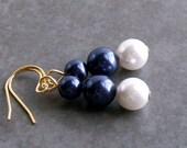 Earrings. Pearl. Gold-Plated. Dark Eggplant Purple, White.