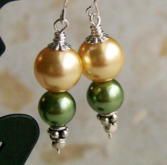 Champagne Gold and Peridot Green Glass Pearl Earrings