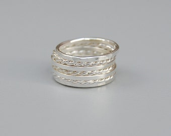 Silver Stacking Rings: Set of Seven Rings
