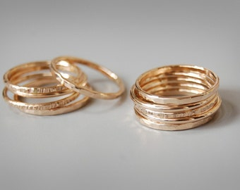 Golden Skinnies: Solid Gold Stacking Rings, Set of Five Rings in 14k, 18k, or 22k