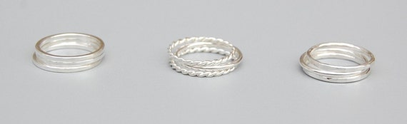 Silver Stacking Rings: Set of Three Rings