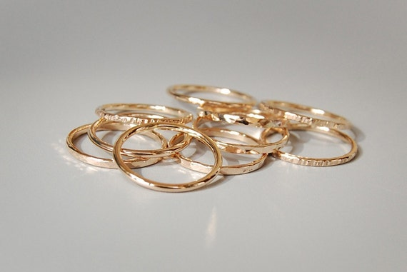Golden Skinnies: Solid Gold Stacking Rings, Single Ring in 14k, 18k, or 22k