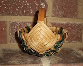 Handwoven Mini Melon Basket with Green