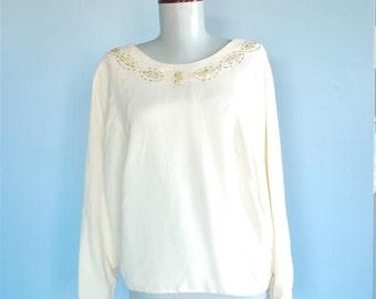 Elegant Vintage Beaded Blouse - XL / XXL Plus Size