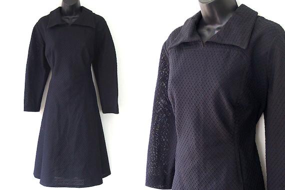 SPRING SALE Vintage 1970's Black Dess with Geometric Textured Pattern Mod L/XL