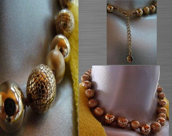 Vintage 80's Gold Tone Beaded Ball Necklace