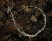 Ivory Tan White Beige Coral Antique Wrapped Necklace Fiber Art Felted Textile Nature Fairy