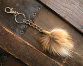 Real fox fur puff bullet shell keychain key chain red rust tan gray black white punk rustic fashion mens womens bag purse charm