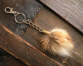 Real fox fur puff bullet shell keychain key chain red rust tan gray black white punk rustic fashion mens womens bag purse charm