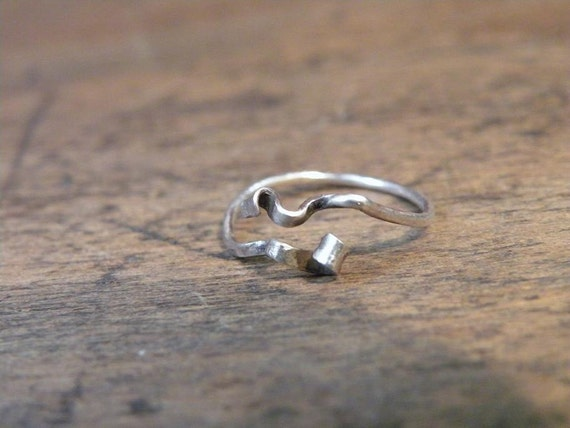 Ribbon sterling silver ring oxidized dainty rustic freeform modernist modern dressy organic wire hammered hand forged handmade custom