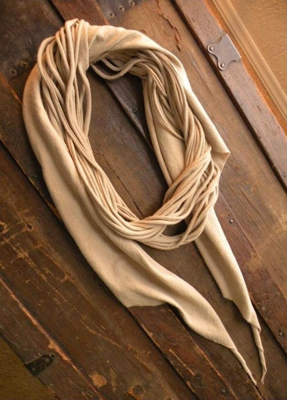 Squid scarf ONE knit stretch spaghetti cascade spiral ruffle drape custom color recycled upcycled shirt layered winter fall skinny wrap