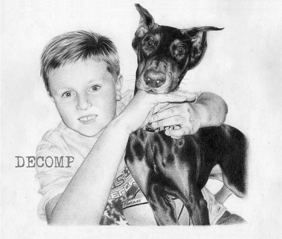 """Custom portrait (2 subjects) 9"""" x 12"""" commissioned pencil realistic life like drawing of pets dog cat baby children child wedding grandparents family landscape house building boat animals mothers fathers special day"""
