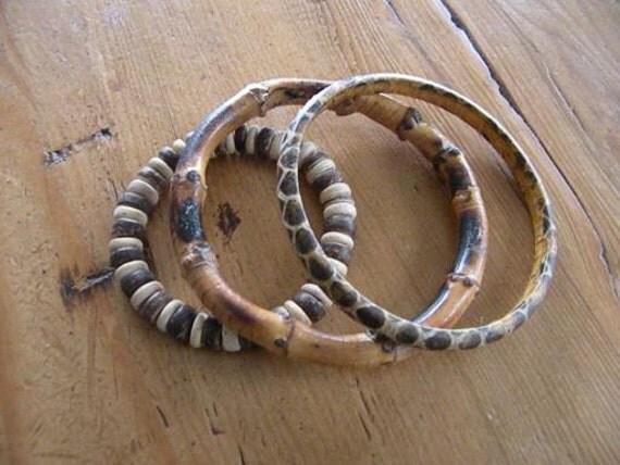 Vintage trio bracelets organic bangle snakeskin bamboo beads wood seed antique mod modern unique modernist boho rustic bohemian