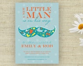 Little Man Mustache Baby Shower Invitation Printable Custom Personalized (Digital File)