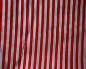 1 yrd red and white stripe - fabric destash