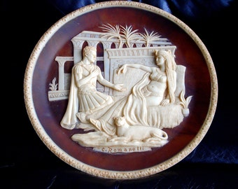 Vintage Autographed Antony and Cleopatra Incolay Stone Cameo Plate