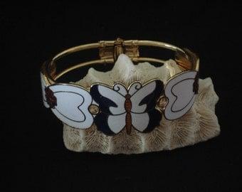 Vintage Enameled Butterfly Cloisonne Clamper Bracelet