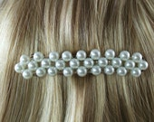 White Pearl Beaded Barrette Clip - Large
