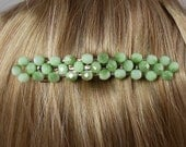 Light Green Crystal Beaded Barrette Clip - Large