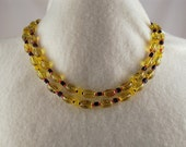 Yellow Red Black Double Strand Beaded Necklace